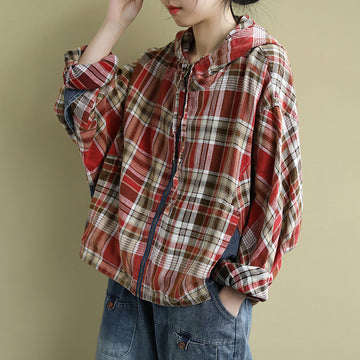 Loose Plaid Patchwork Hooded Overcoat