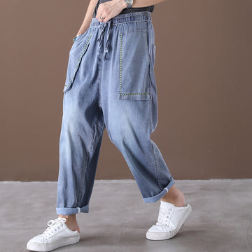 Loose Pocket Embroidery Distressed Pants
