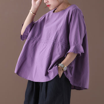 Loose Pure Color Adjustable Waist T-shirt
