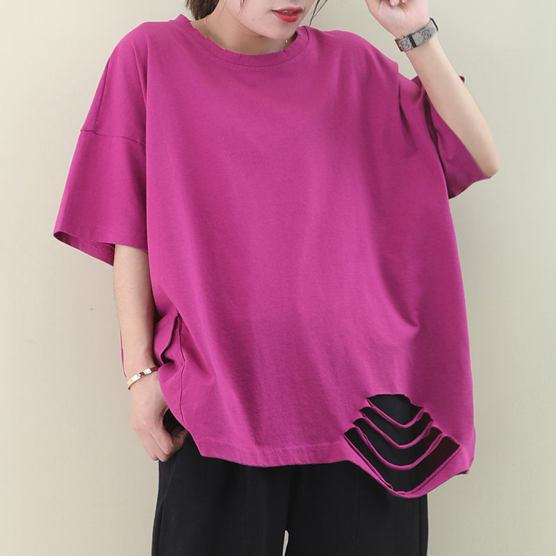 Plus Size - Loose Pure Color Hole Hem Summer T-shirt