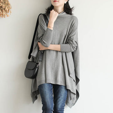 Loose Pure Color Irregular Hem Knitted Sweater