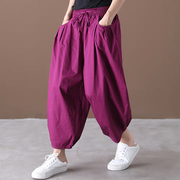 Loose Pure Color Pocket Drawstring Cotton Pants