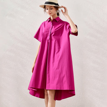 Plus Size Pure Color Turn-down Collar Cotton Shirt Dress
