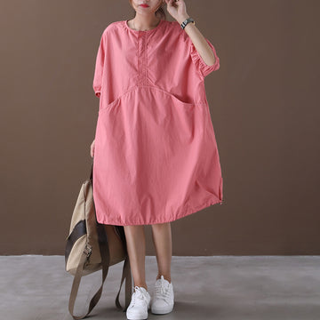 Loose Solid Color Pocket Cotton Dress