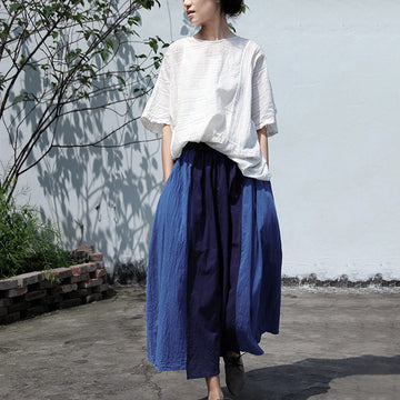 Loose Solid Color Pocket Stitching Skirt