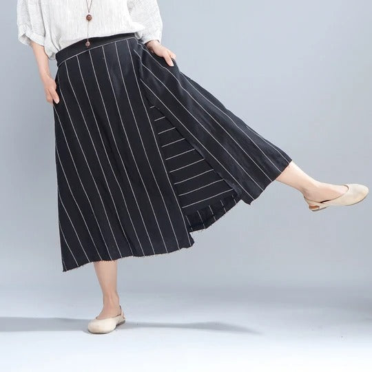 Loose Stripe Women Casual Calf Length White Skirts