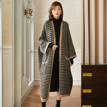 Loose Striped Knitted Batwing Sleeve Coat