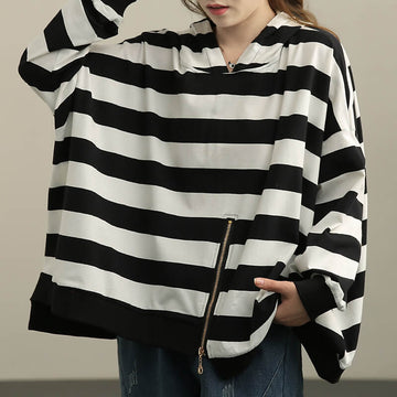 Loose Striped Zipper Women Hoodie