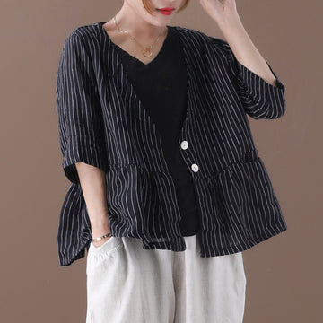 Loose Thin Sunscreen Stripe Cotton Coat