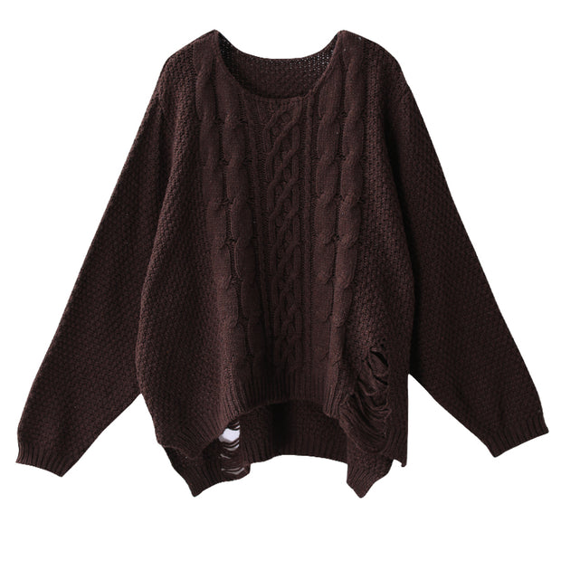 Hole Design Loose And Comfortable Sweater