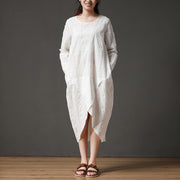 Loose Autumn Long Sleeve Cotton Irregular Hem White Dress