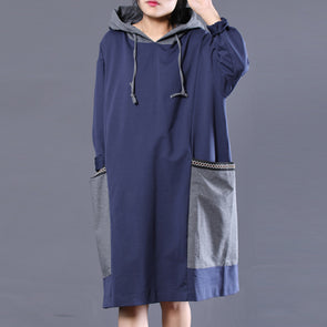 Loose Autumn Streetwear Cotton Patchwork Casual Dress