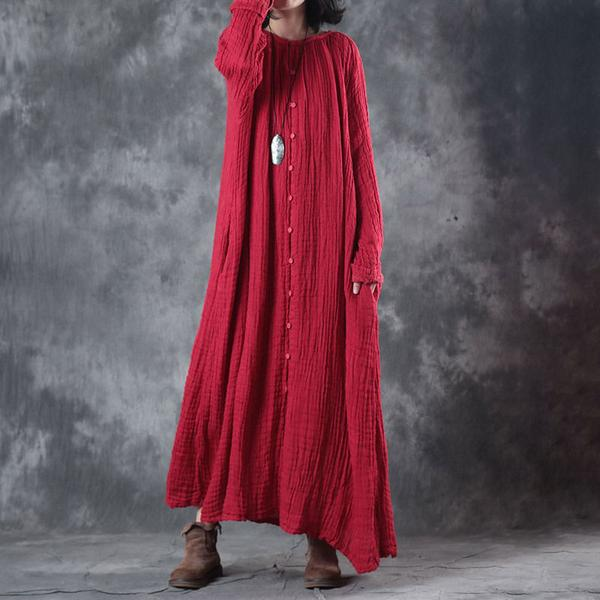 Loose Autumn Women Round Neck Red Linen Long Dress