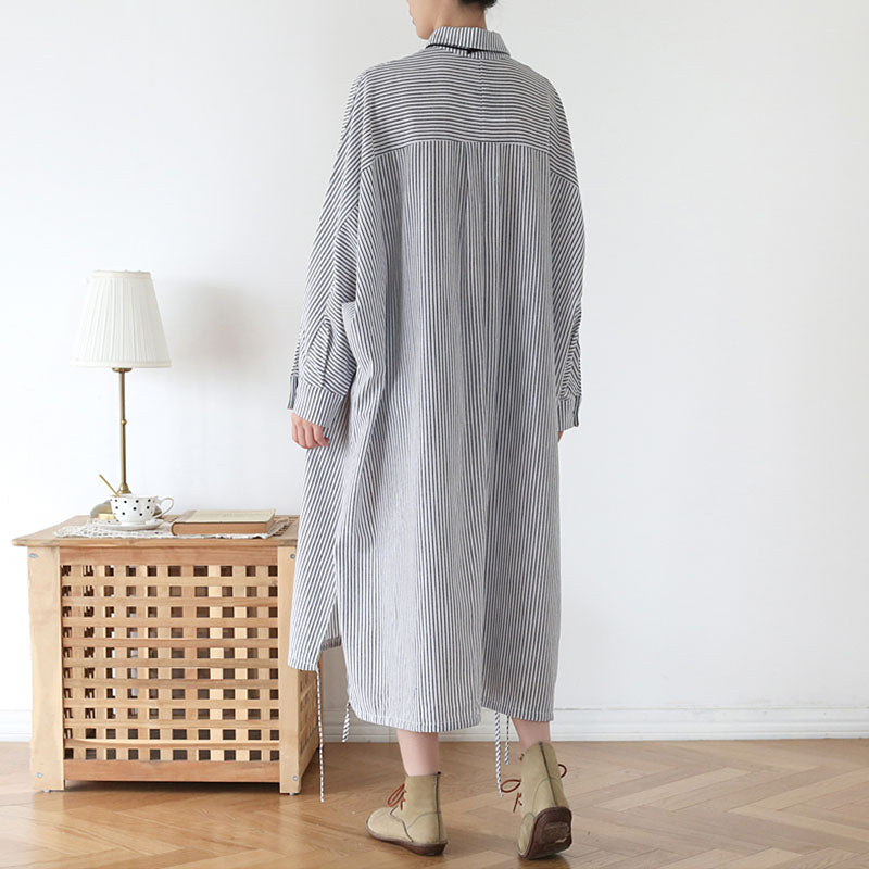 Loose Bat Sleeve Single Pocket Stripe Dress