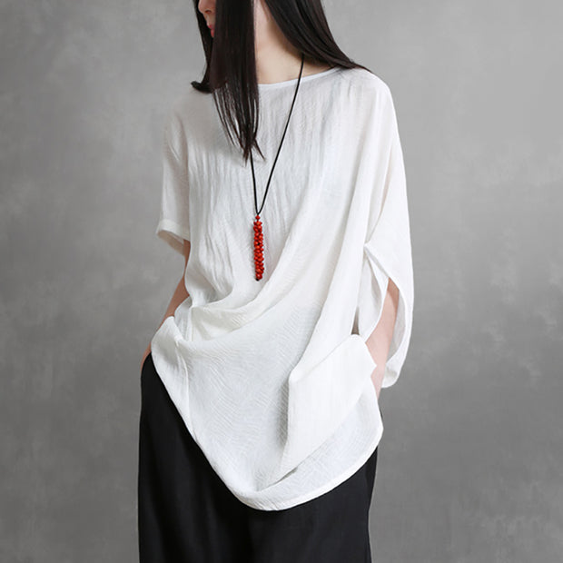 Loose Batwing Sleeve Linen Jacquard Blouse