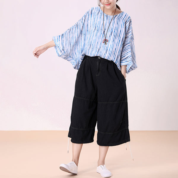 Loose Black Female Denim Cotton Pants