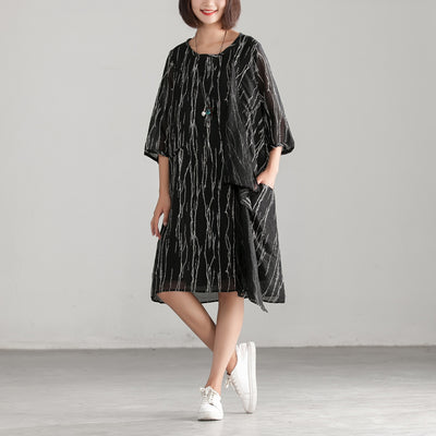 Loose Black Women Round Neck Casual Dress