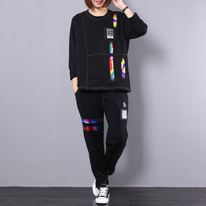 Loose Casual Cotton Sportswear Black Suit