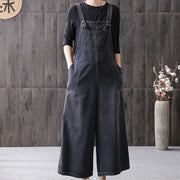 Loose Casual Denim Wide-Waisted Overalls