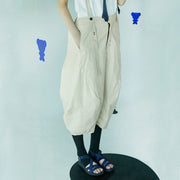 Loose Casual Solid Calf-Length Overalls
