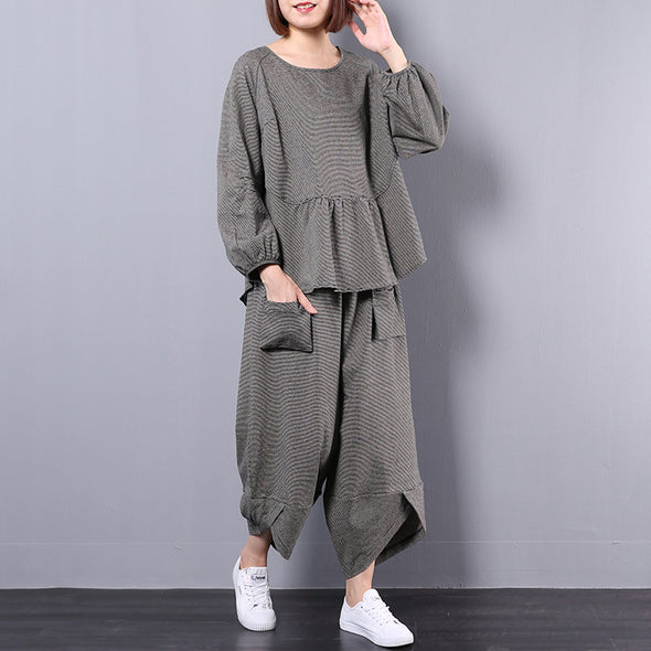 Loose Casual Stripe Gray Pleated Women Suit