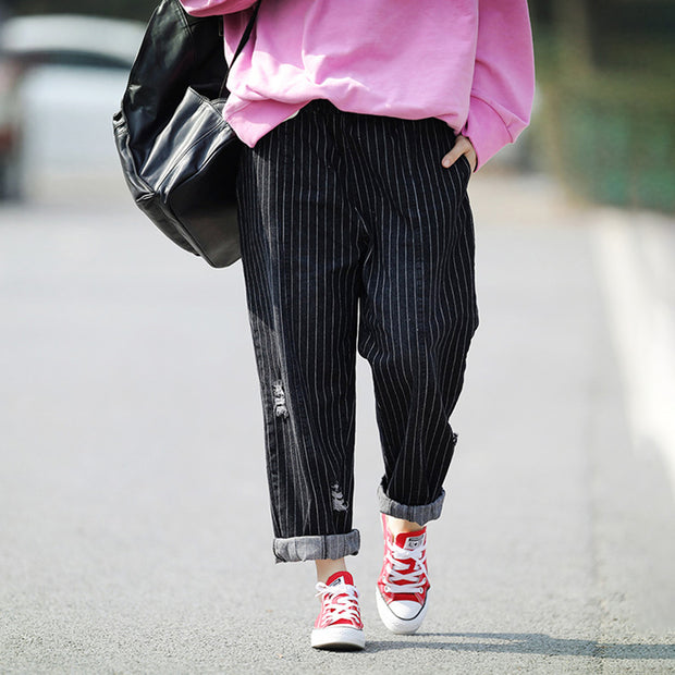 Loose Casual Striped Women Harem Pants