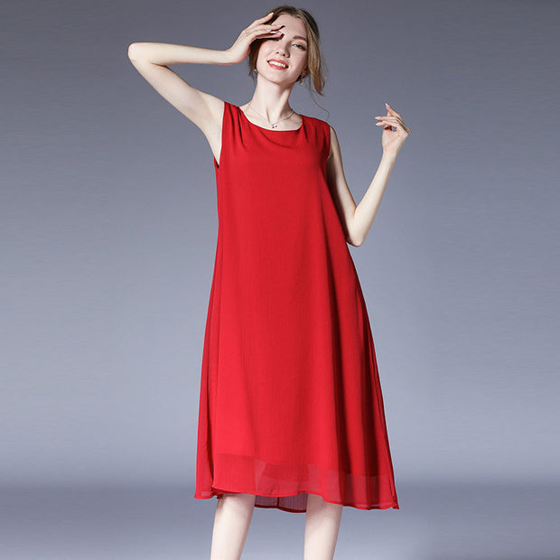 Loose Chiffon Sleeveless Plus Size Dress