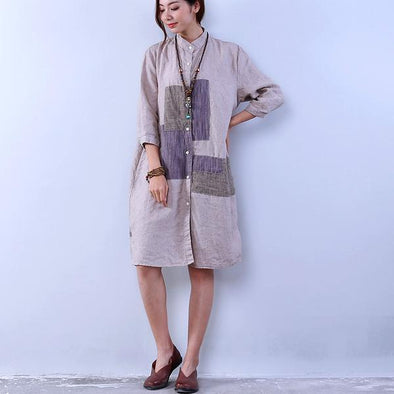 Loose Commuter Women Beige Shirt Dress