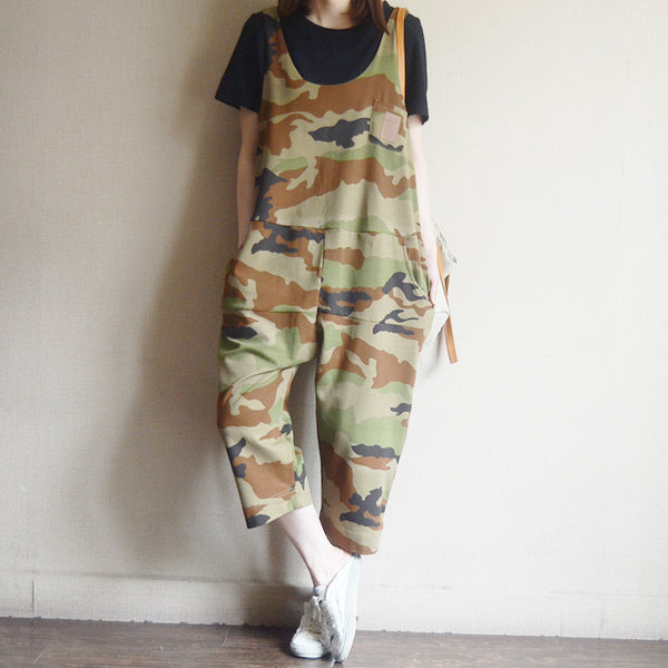 Loose Cotton Camouflage Harm Women Overalls