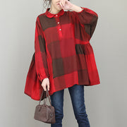 Plus Size Cotton Linen Women Red Plaid Top