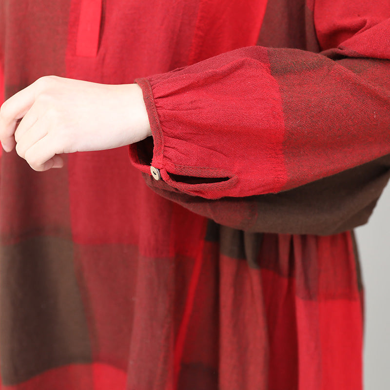 Plus Size - Cotton Linen Women Red Plaid Blouse