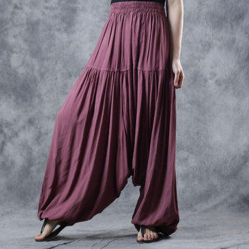 Loose Cotton Pleated Women Harem Pants