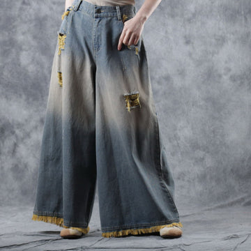 Loose Distressed Denim Nine Percent Wide Leg Pants