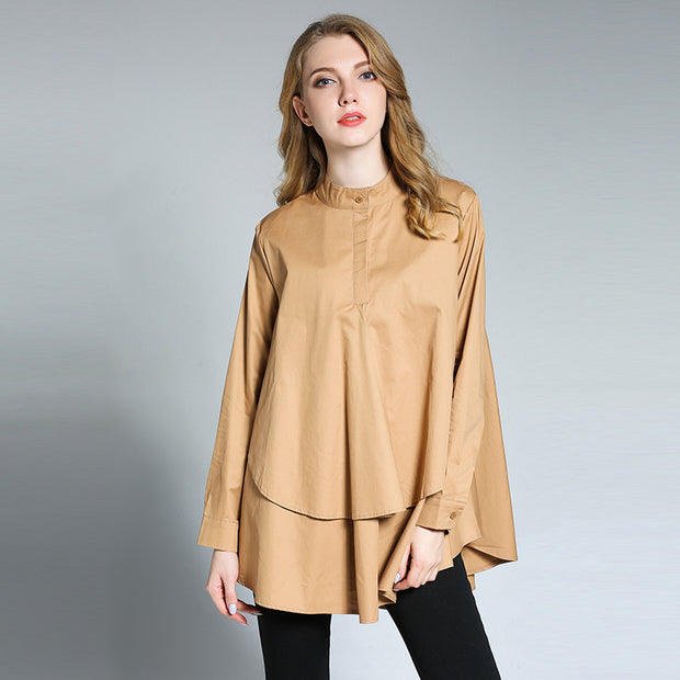 Loose Fashion Stand Collar Double Layer Shirt