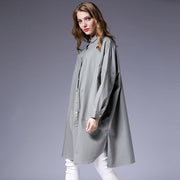 Loose Fashion Turn-Down Collar Solid Color Trench Coat