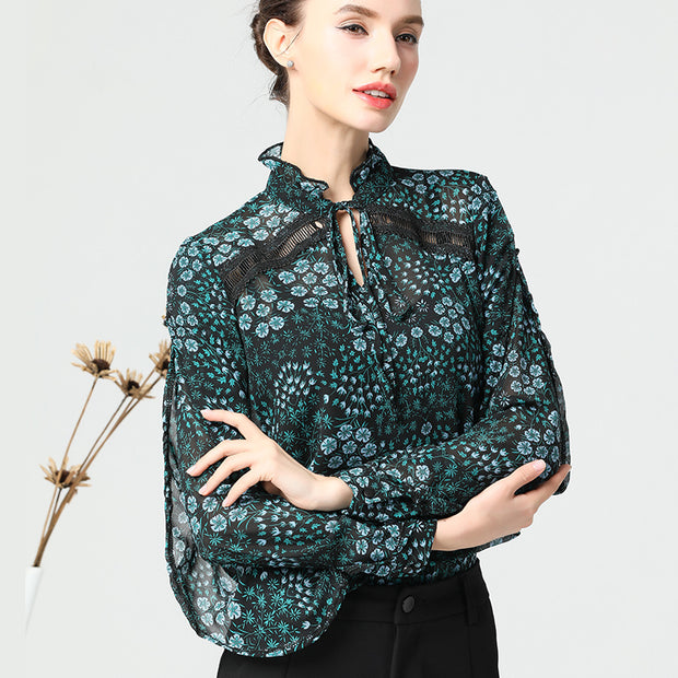Loose Floral Lanon Hollow Out Plus Size Shirt