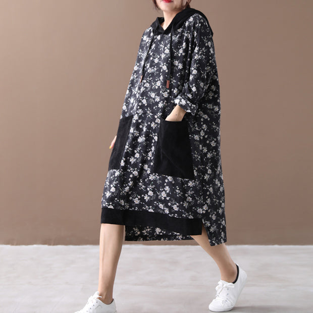 Loose Floral Women Autumn Hooded Dress
