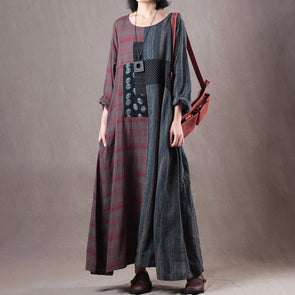 Loose Gray Long Sleeve Robe Retro Linen Dress