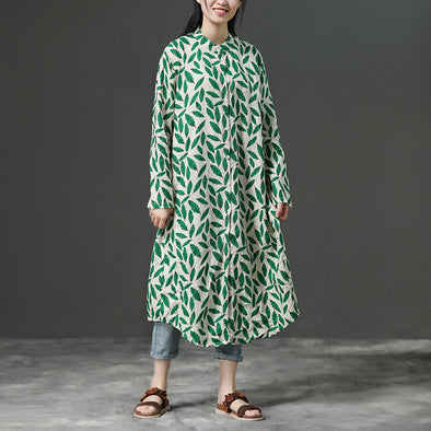 Loose Green Linen Long Sleeve Casual Dress