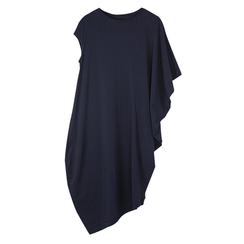 Plus Size - Loose Irregular Solid Color Women Dress