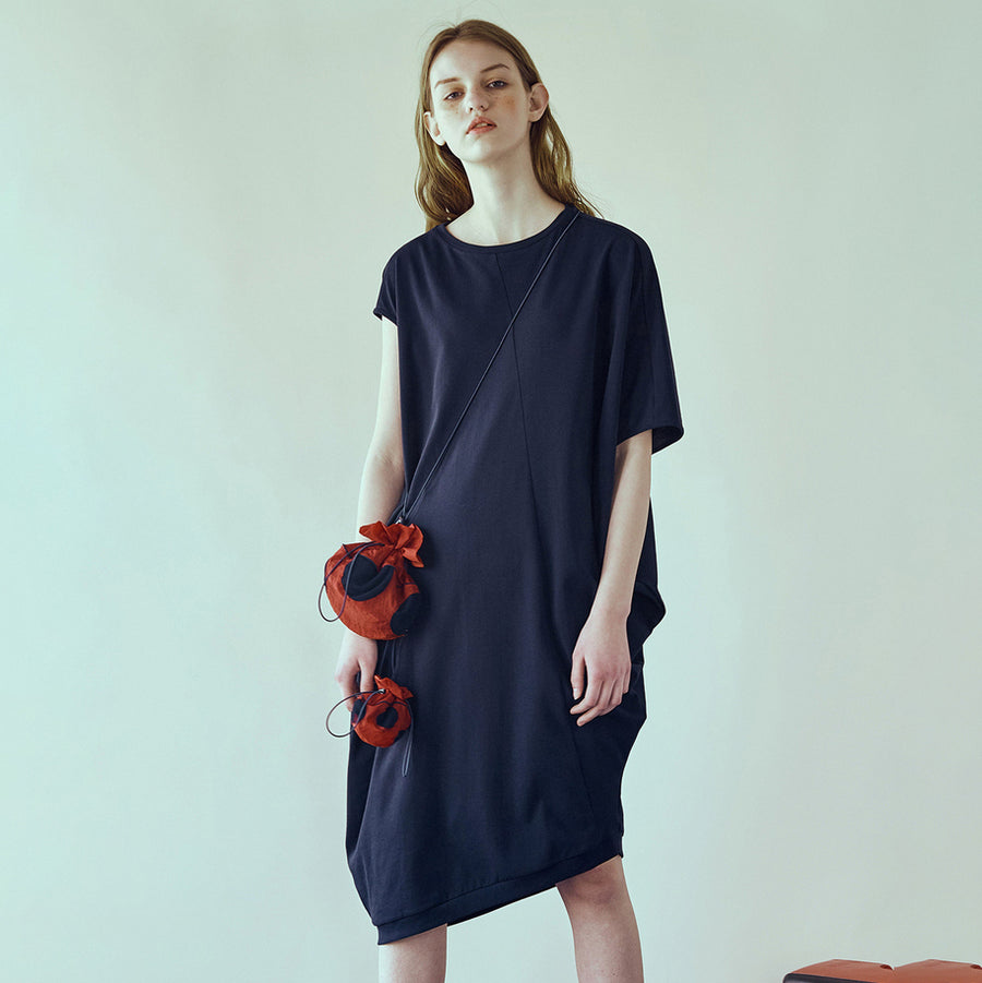 Loose Irregular Solid Round Neck Women Dress