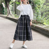 Loose Lattice Casual Black Women Wide Leg Pants