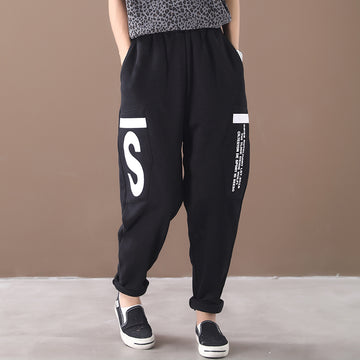Loose Letter Printed Plus Velvet Casual Pants