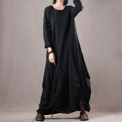 Loose Linen O-neck Long Sleeve Maxi Dress