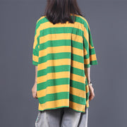Loose Literary Color Matching Striped T-Shirt