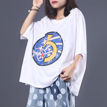 Loose Literary Digital Printed Hole T-Shirt