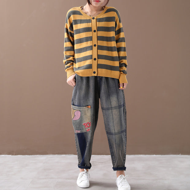Loose Literary Striped Single Breasted Sweater Coat