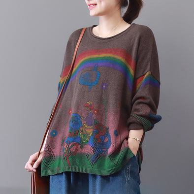 Loose Literature Female Autumn Long Sleeve Sweater
