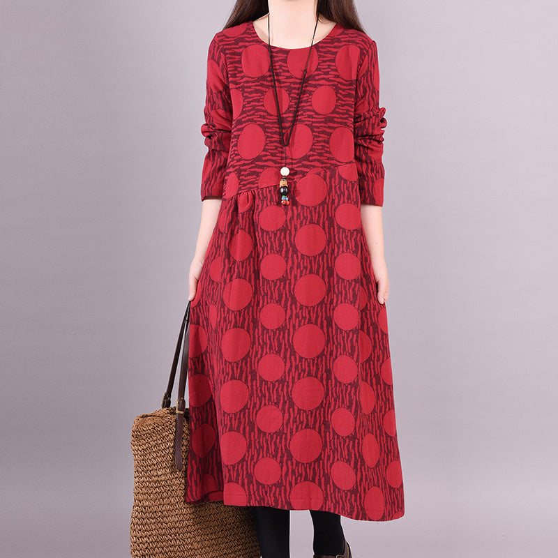 2c800a97e1f Loose Long Sleeve Cotton Linen Print Dress