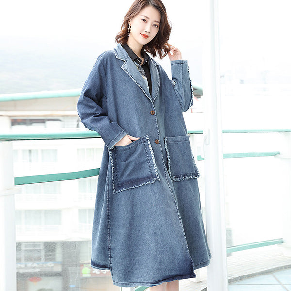 Loose Long Sleeve Denim Tassel Solid Coat